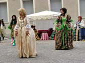 Historical parade. costumes 700. fashion. vintage. people. outdoor. nobility. france. — Stock Photo