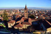 Rivoli. Turin. Italy. lights and streetlights. winter. outdoor. people. walk. — Stock Photo