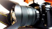 Nikon d800. photography. photographer. objective. lens. memory. colors. exposure. diaphragm. sensitivity. iso. ASA. — Stock Photo
