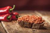 Vegetable Pepper Spread on bread — Stock Photo
