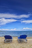 Beach chairs on the beach — Stock Photo
