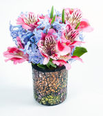 Alstroemeria and hyacinth flowers in vase — Stock Photo