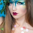 Beautiful Creative Fashion Makeup.Dryad.Mermaid - Stock Photo