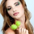 Stock Photo: Portrait of beautiful wommodel face with beautiful make-up