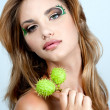 Portrait of beautiful woman model face with beautiful make-up — Stock Photo #22259073