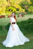 Série. retrato da jovem noiva linda na natureza — Foto Stock