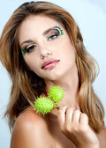 Portrait of beautiful woman model face with beautiful make-up — Stock Photo