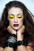 Beautiful woman with a bright make up. Fashion photo.Woman with — Stock Photo