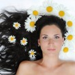 The beautiful girl lies with camomiles in hair - Stock Photo
