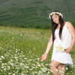 A pregnant girl in a field of flowers - Stok fotoğraf