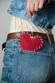Fashion photo of woman in jeans. Valentine's day — Stock Photo