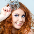 Portrait of beautiful woman with stylish makeup and a crown on a - Stock Photo