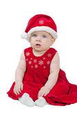 Cute baby in red Christmas clothes isolated on white — Stock Photo