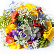 Stock Photo: Beautiful wedding bouquet of freesias, succulent, gypsophila