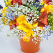 Stock Photo: Beautiful bouquet of freesias, succulent, gypsophila