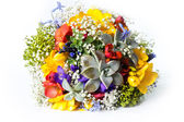 Beautiful wedding bouquet of freesias, succulent, gypsophila — Stock Photo
