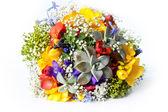 Beautiful wedding bouquet of freesias, succulent, gypsophila — Stock Photo