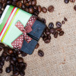 Aroma handmade soap and coffee beans — Stock Photo #25905701