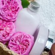 Natural soap and body milk from rose petals — Stock Photo