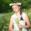 Beautiful woman enjoying daisy field, pretty girl relaxing outdoor, having fun, holding plant, happy young lady and spring green nature, harmony concept — Stock Photo #25906063