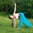 A young woman practices yoga in the park — Stock Photo