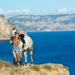 Stok fotoğraf: Beautiful girl with the horse on the sea shore. Horsewoman