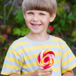 Portrait of beautiful joyful boy with lollipop. Outdoors — Stock Photo