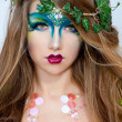 Beautiful Creative Fashion Makeup.Dryad.Mermaid — Stock Photo