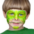 Stock Photo: Little boy making face painting. Halloween.Chameleon