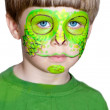 Little boy making face painting. Halloween.Chameleon — Stock Photo
