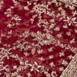 Closeup of red and golden embroidery on Indian saree — Stock Photo