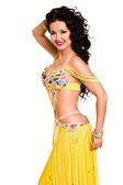 Beautiful slim woman belly dancer sexy arabian turkish oriental professional artist in carnival shining costume with long healthy glossy hair. exotic star of bellydance. — Stock Photo