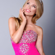 Fashion blond princess woman with pink makeup and dress. Barbie — Stock Photo #50979587