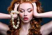Red Hair. Fashion Woman Portrait. long Curly Hair. Bride Make up — Stock Photo
