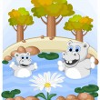 Stock Vector: Hippos admire unusual camomile