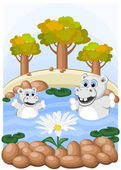 Hippos admire unusual camomile — Stock Vector