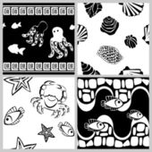 Black-and-white set of sea-life seamless patterns — Stock Vector
