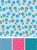 Easy flowers on seamless pattern — Stock Vector