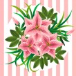 Royalty-Free Stock Vector Image: Retro bouquet with lilies, buds and leaves on striped background