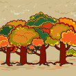 Four trees in autumn time — Stock Vector