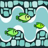 Smalts ve balıklar ile seamless modeli — Stok Vektör