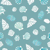 Seamless pattern with various shells — Stock Vector