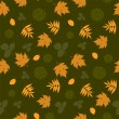 Seamless pattern with leaves and silhouettes — Stock Vector
