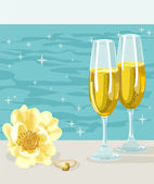 Two glasses of cold champagne, flower and ring — Stock Vector