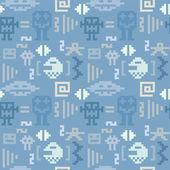 青いピクセル モンスター シームレスなパターン — ストックベクタ
