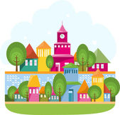 Small Town On The River — Stock Vector