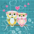 Two Owls in Love — Stock Vector #33306061