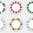 Stickers With Christmas Wreaths — 图库矢量图片