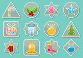 Stickers With Christmas Items — Stock Vector