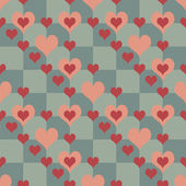 Chequered Pattern With Hearts — Stock Vector